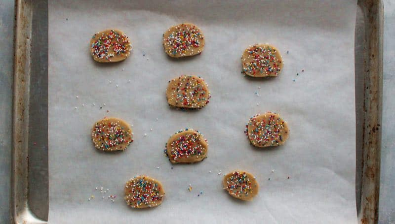 Dip in sprinkles for sprinkle cookies