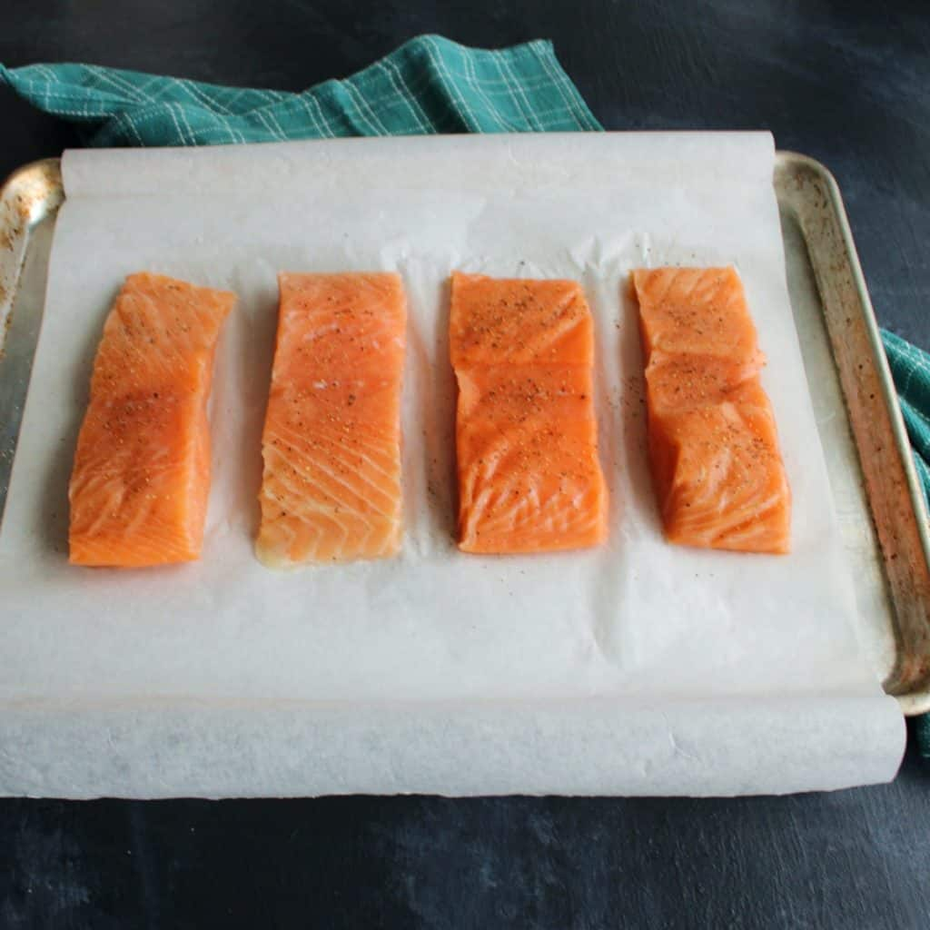 Sprinkle salmon with salt and pepper